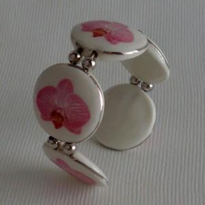 Round shape bangle, phalaenopsis style B, striped, Bright Pink