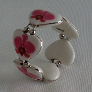 Heart shape bangle, phalaenopsis style A, hybrid, Pink