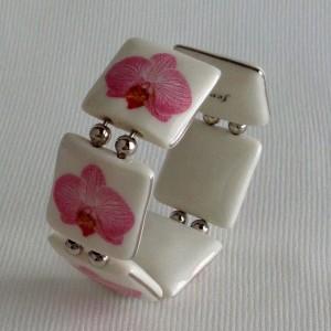 Square shape bangle, phalaenopsis style B, striped, Bright Pink