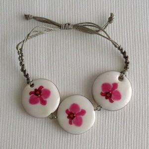 Round shape bracelet macrame, phalaenopsis style A, hybrid, Pink, samll x 3 pcs.