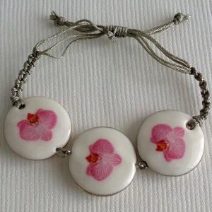 Round shape bracelet macrame, phalaenopsis style B, striped, Bright Pink, small x 3 pcs.