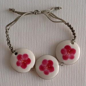 Round shape bracelet macrame, vanda style B, dotted, Dark Pink, small x 3 pcs.
