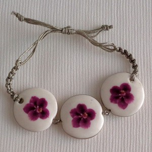 Round shape bracelet macrame, vanda style C, striped, Reddish Violet, small x 3 pcs.