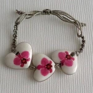 Heart shape bracelet macrame, phalaenopsis style A, hybrid, Pink, small x 3 pcs.