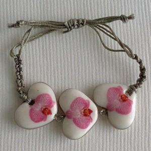 Heart shape bracelet macrame, phalaenopsis style B, striped, Bright Pink, small x 3 pcs.