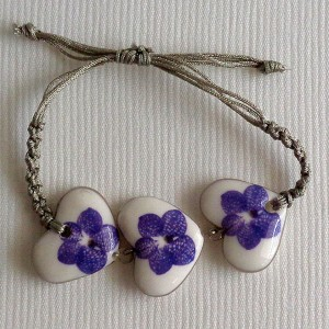Heart shape bracelet macrame, vanda style A, striped, Purple, small x 3 pcs.