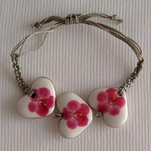 Heart shape bracelet macrame, vanda style B, dotted, Dark Pink, small x 3 pcs.