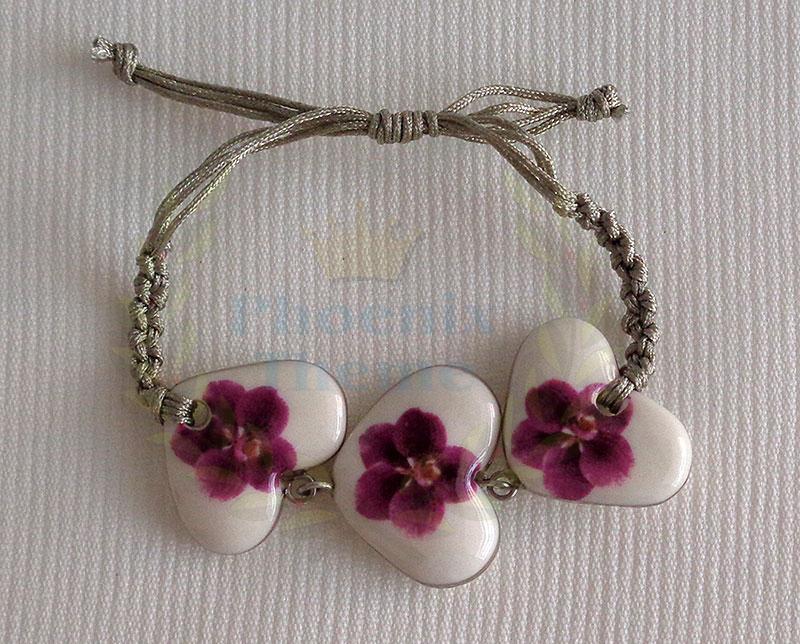 Heart shape bracelet macrame, vanda style C, striped, Reddish Violet, small x 3 pcs.