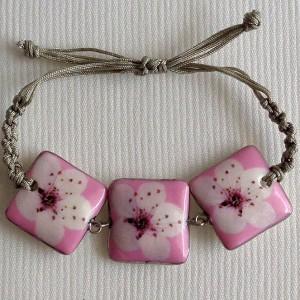 Square shape bracelet macrame, cherry blossom, side view, small x 3 pcs.