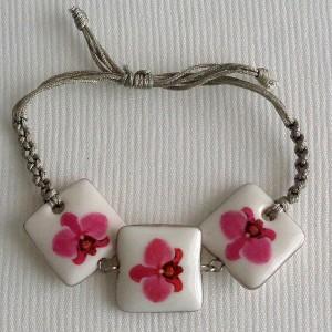 Square shape bracelet macrame, phalaenopsis style A, hybrid, Pink, small x 3 pcs.