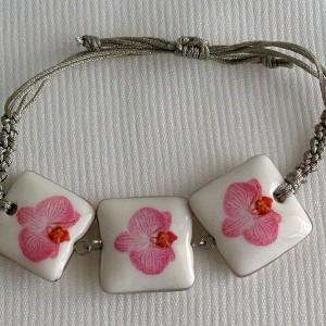 Square shape bracelet macrame, phalaenopsis style B, striped, Bright Pink, small x 3 pcs.