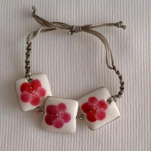 Square shape bracelet macrame, vanda style B, dotted, Dark Pink, small x 3 pcs.