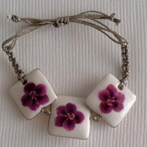Square shape bracelet macrame, vanda style C, striped, Reddish Violet, small x 3 pcs.