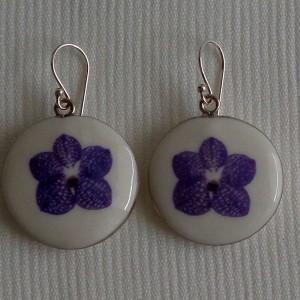 Round shape earrings,  vanda style A, striped, Purple
