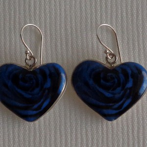 Heart shape earrings, blooming rose, full surface