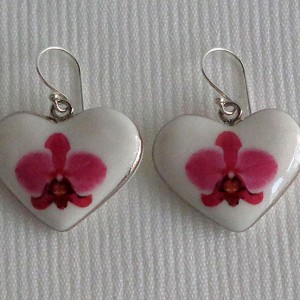 Heart shape earrings, phalaenopsis style A, hybrid, Pink