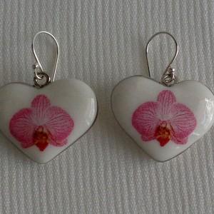 Heart shape earrings, phalaenopsis style B, striped, Bright Pink