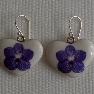 Heart shape earrings,  vanda style A, striped, Purple