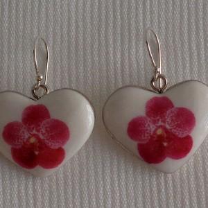 Heart shape earrings,  vanda style B, dotted, Dark Pink