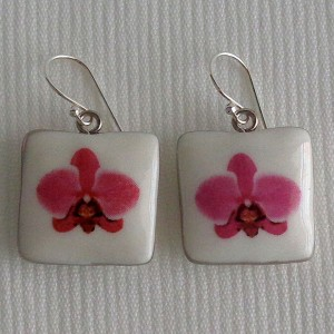 Square shape earrings, phalaenopsis style A, hybrid, Pink
