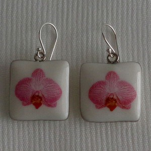 Square shape earrings, phalaenopsis style B, striped, Bright Pink