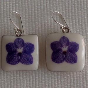 Square shape earrings, vanda style A, striped, Purple