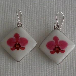 Vertical square shape earrings, phalaenopsis style A, hybrid, Pink