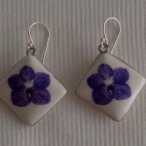 Vertical square shape earrings, vanda style A, striped, blue