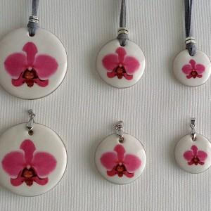 Round shape pendant, phalaenopsis style A, hybrid, Pink, Large