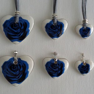 Heart shape pendant, blooming rose, Medium