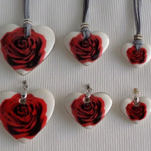 Heart shape pendant, blooming rose, Large