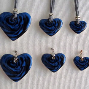 Heart shape pendant, blooming rose, full surface, Medium