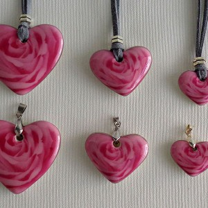 Heart shape pendant, blooming rose, full surface, Small