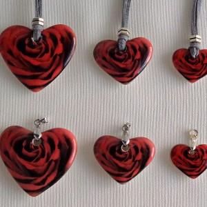 Heart shape pendant, blooming rose, full surface, Large