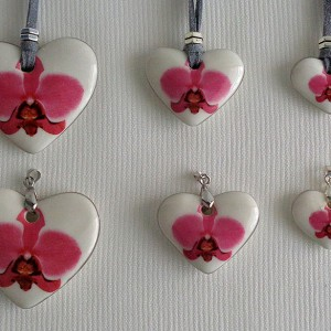 Heart shape pendant, phalaenopsis style A, hybrid, Pink, Large