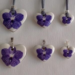 Heart shape pendant,  vanda style A, striped, Purple, Large