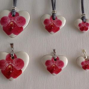 Heart shape pendant, vanda style B, dotted, Dark Pink, Large