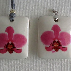 Rectangle shape pendant, phalaenopsis style A, hybrid, Pink, Large