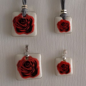 Square shape pendant, blooming rose, Small