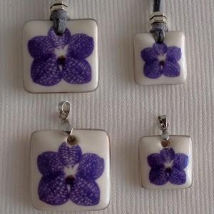 Square shape pendant,  vanda style A, striped, Purple Medium