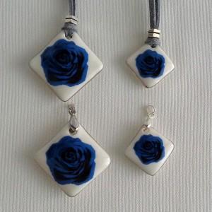 Vertical square shape pendant, blooming rose, Medium