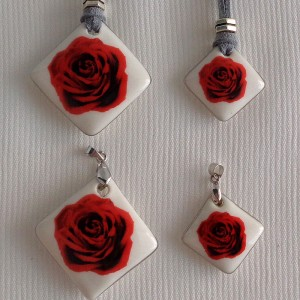Vertical square shape pendant, blooming rose, Small