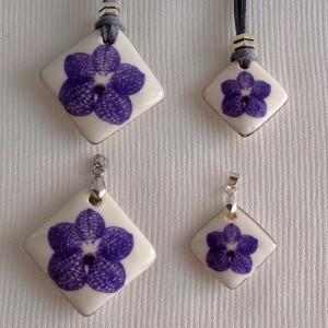 Vertical square shape pendant, vanda style A, striped, Purple,  Medium