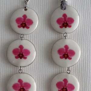 Round shape pendant, phalaenopsis style A, hybrid, Pink, Small x 3 pcs.