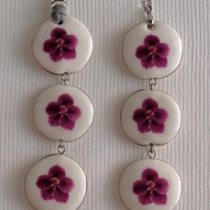 Round shape pendant, vanda style C, striped, Reddish Violet, Small x 3 pcs.