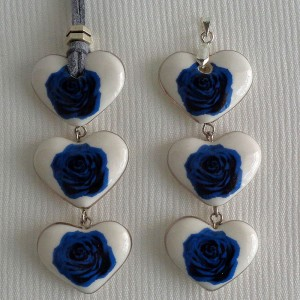 Heart shape pendant, blooming rose, Small x 3 pcs.