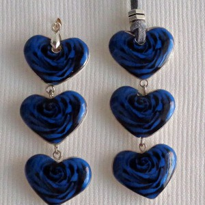 Heart shape pendant, blooming rose, full surface, Small x 3 pcs.