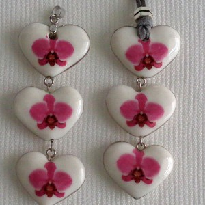 Heart shape pendant, phalaenopsis style A, hybrid, Pink, Small x 3 pcs.