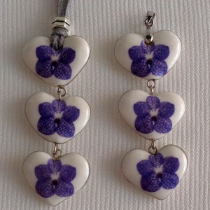 Heart shape pendant, vanda style A, striped, Purple, Small x 3 pcs.