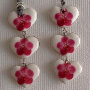 Heart shape pendant, vanda style B, dotted,Dark Pink, Small x 3 pcs.